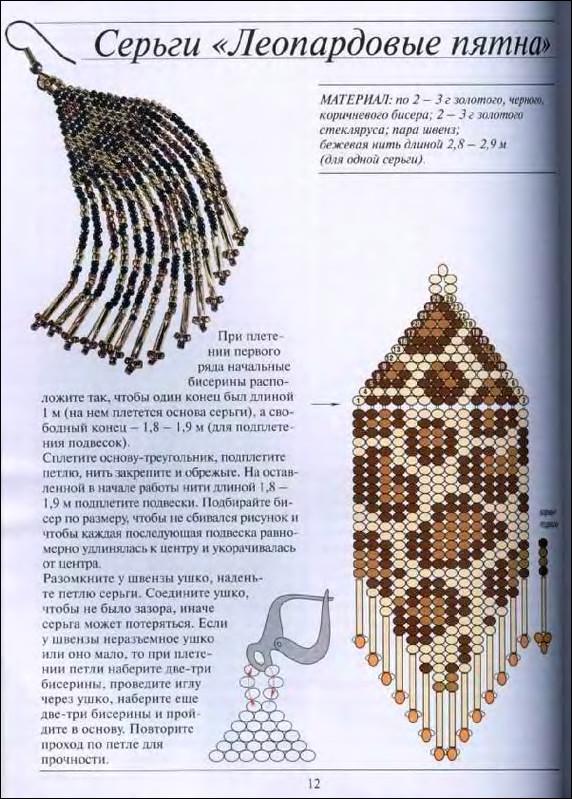 Серьги из бисера - Плетение бисером - схемы и уроки.